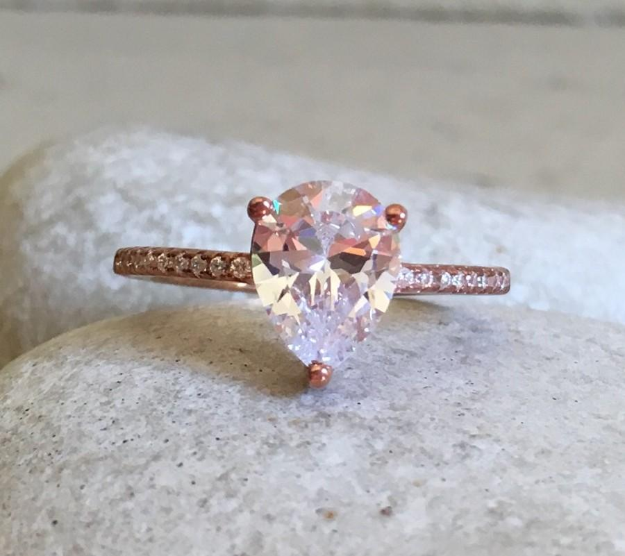 Rose Gold Cubic Zirconia Ring Promise Ring Simple Engagement