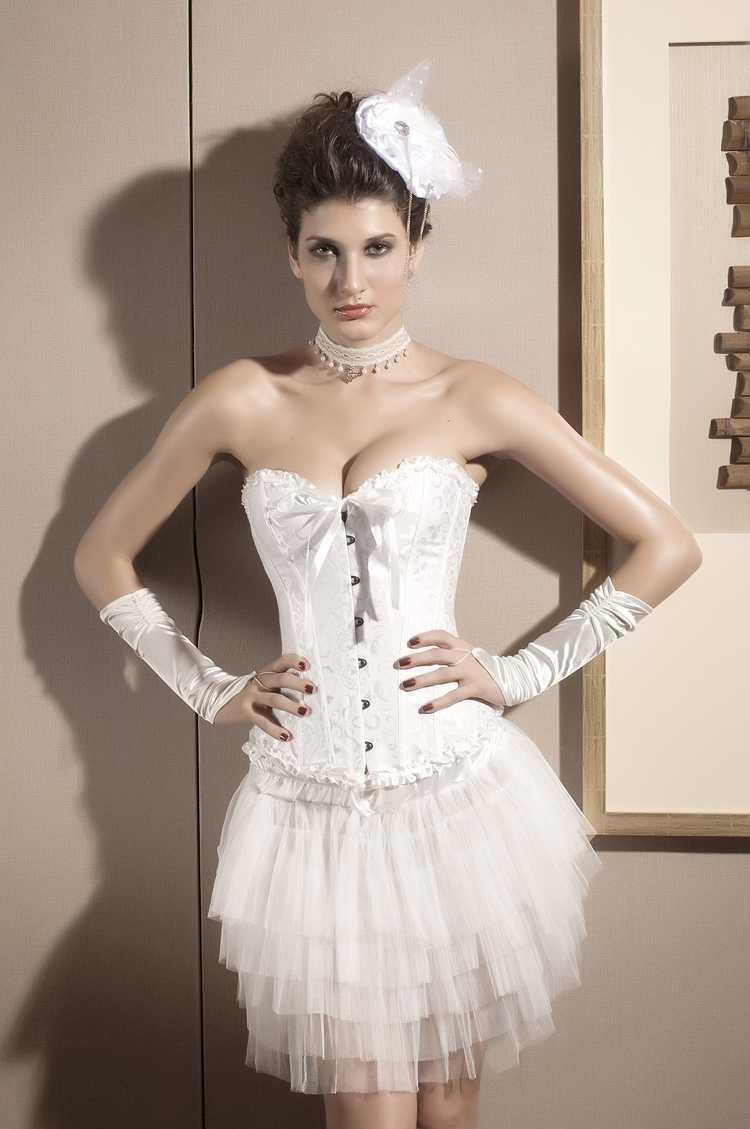 Свадьба - White Bridal Waist Training Overbust Corset