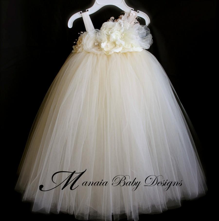 زفاف - Ivory Vintage Tutu Dress / Ivory Flower Girl Dress / Ivory Tutu Dress