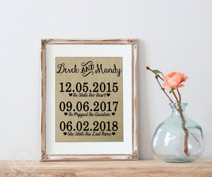 bridal shower gift on burlap burlap art print for new couple bride and groom bridal shower gift wedding shower gift for bride