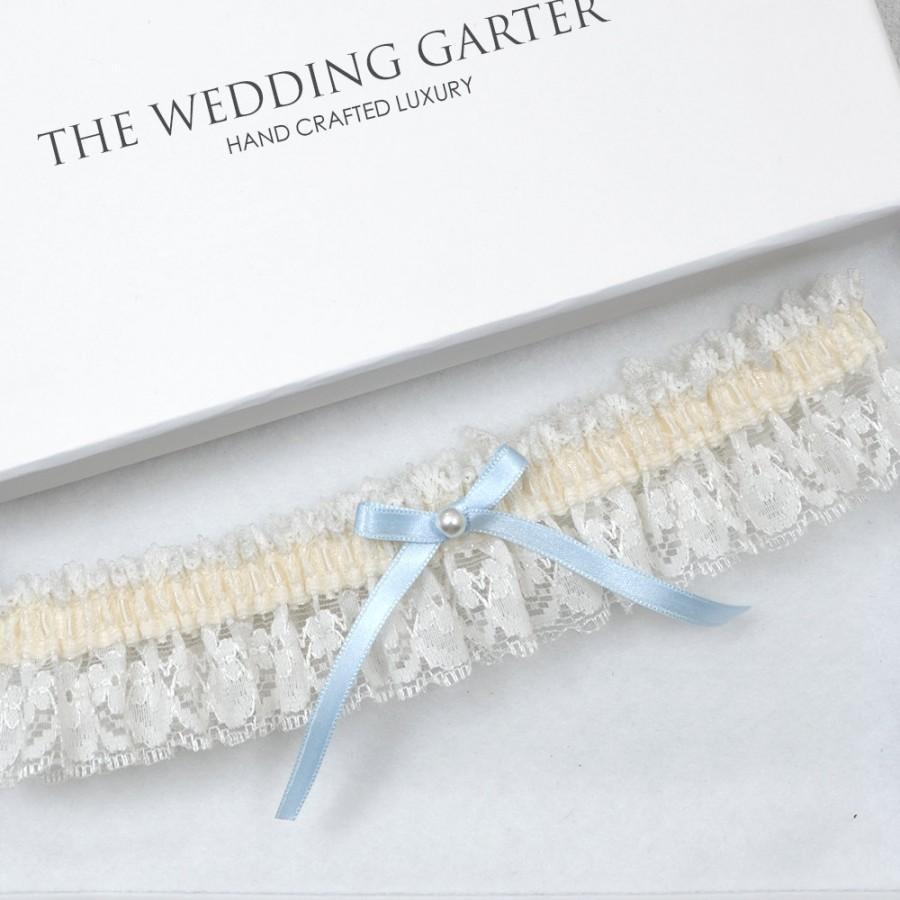 Mariage - Ivory Lace Wedding Garter, Bridal Garter, Toss Garter, Wedding Garter, Cream Garter, Ivory Garter, Something Blue, Blue Garter, Garters