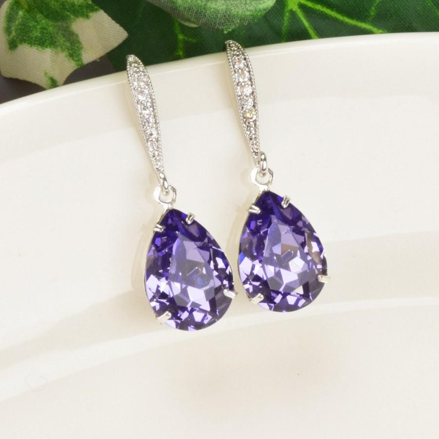 Purple Earrings Tanzanite Swarovski Teardrop Silver Bridesmaid Crystal Jewelry Wedding