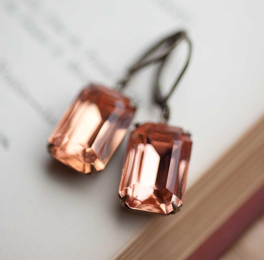 Mariage - Peach Wedding Bridal Earrings Vintage Drop Earrings Upcycled Jewelry Bridesmaid Gift Pink Earrings Peach Jewelry