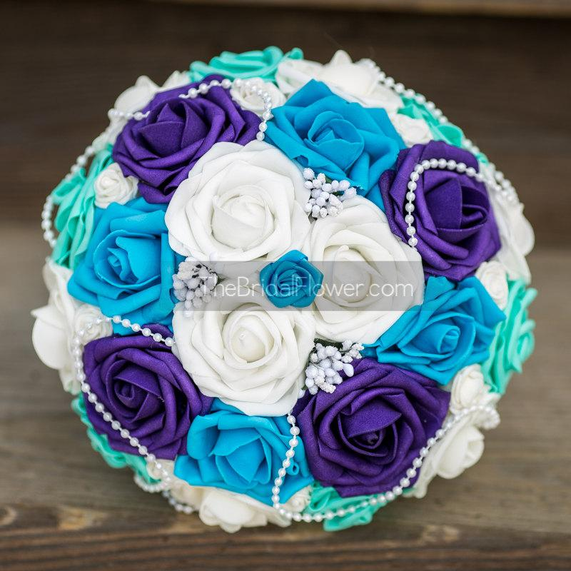 Wedding Bouquet, Bridal Bouquet, Turquoise Blue And Purple, Silk ...
