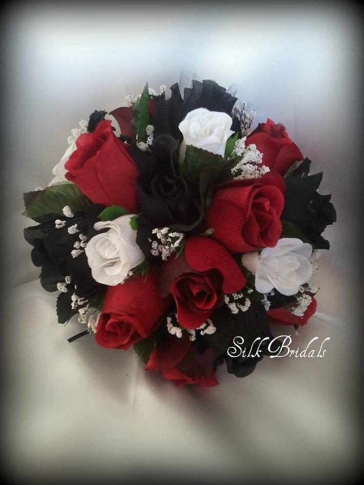 Black white red roses bridal bouquet bridesmaid silk wedding flowers black white red roses bridal bouquet bridesmaid silk wedding flowers mightylinksfo