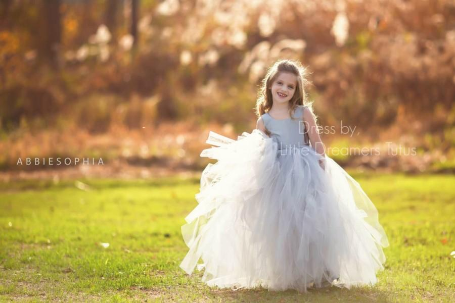 Wedding - NEW! The Juliet Dress in Silver Grey - Flower Girl Tutu Dress
