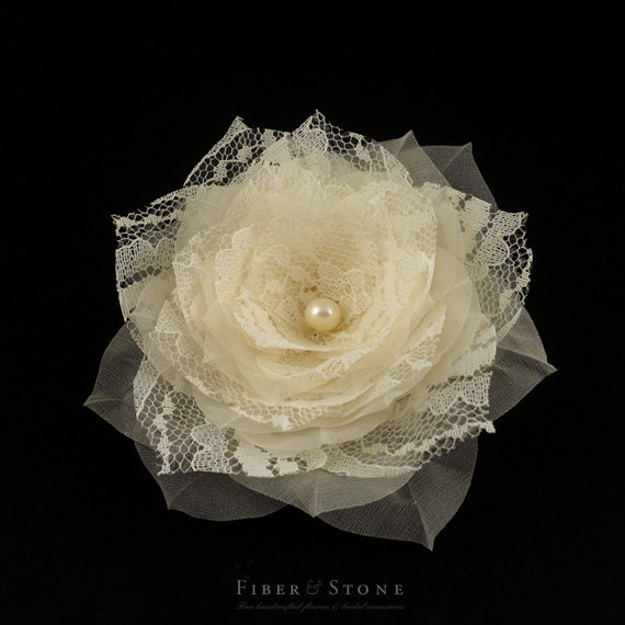 Hochzeit - Silk and Lace Bridal Hairpiece, Flower Wedding Hairpiece, Bridal Hair piece, Lace Bridal Hair Clip, Wedding Hair Clip, Freshwater Pearls