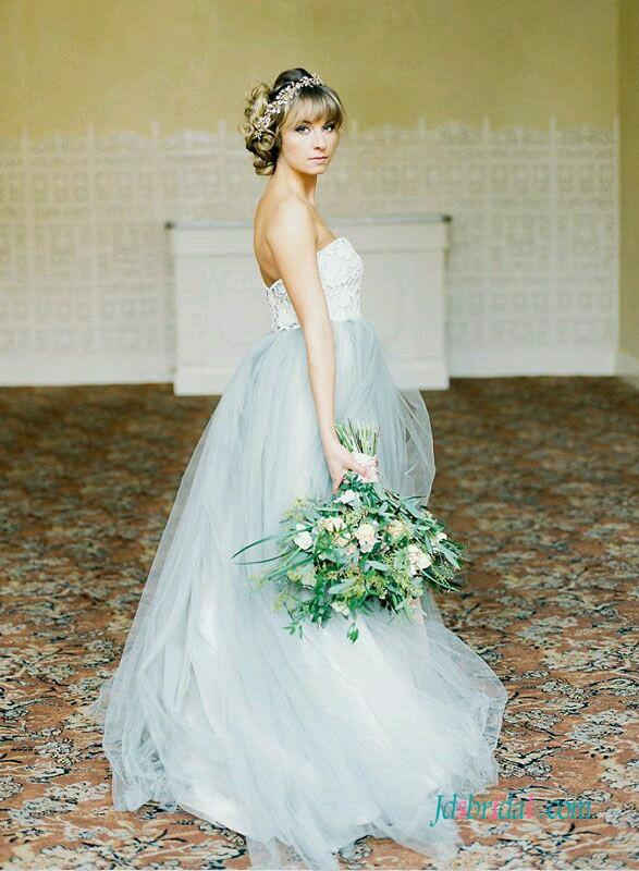 H1538 Pastel Blue Grey Colored Woodland Tulle Wedding Dress 2559826