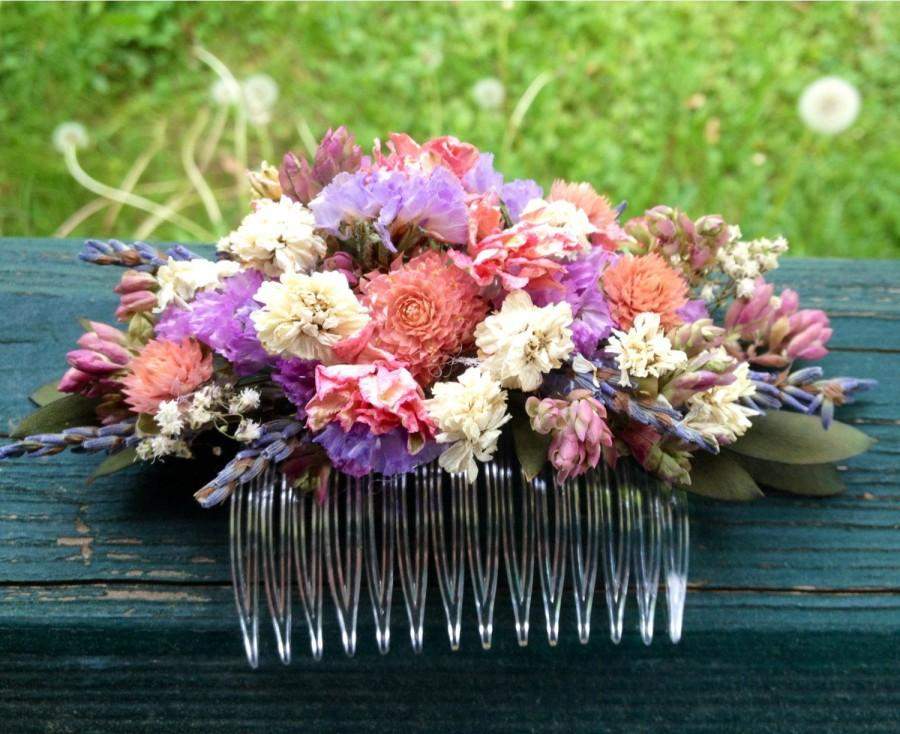 Hochzeit - Dried flower hair comb made and shades of Rose and lavender. For your wedding or special occasion.