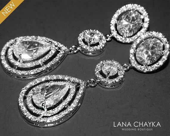 Cubic Zirconia Long Bridal Earrings Cz Dangle Wedding