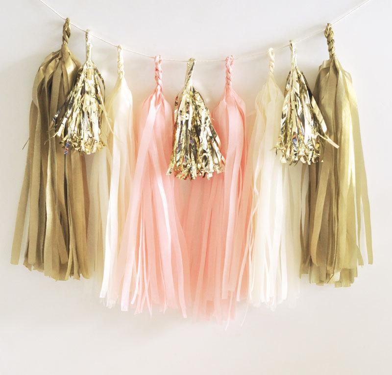 Tassel Garland Kit Bachelorette Party Decoration Blush Pink And Gold Bridal Shower Engagement Tissue Paper
