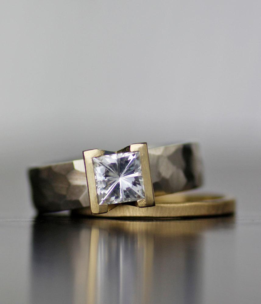 Moissanite Modern Engagement Ring, Square Cut Diamond Or Moissanite, Unique  Wedding Band Set, Womens Wedding Ring Set Diamond Ring, Lodestar