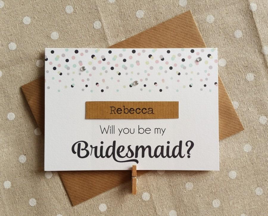 Mariage - Handmade Pretty Confetti Will You Be My Bridesmaid Personalised Card