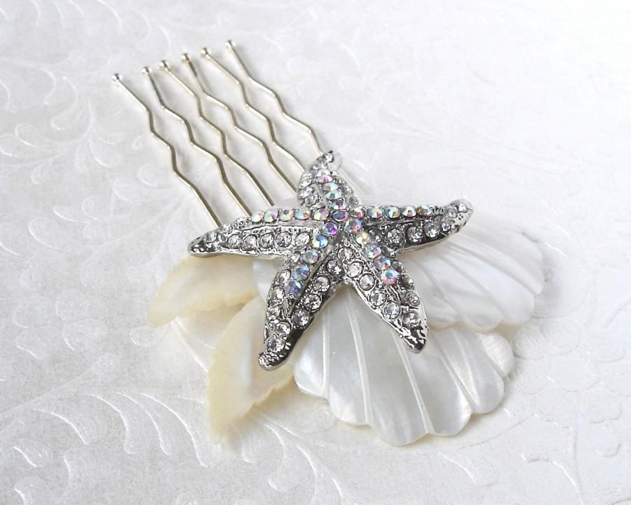 Mariage - Rhinestone Starfish Wedding Hair Comb Mother Of Pearl Bridal Hairpiece Bohemian Chic Beach Bride Shell Headpiece Aurora Borealis Accessory