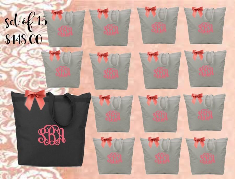 زفاف - bridal totes, monogrammed bag, monogrammed tote, bridesmaid gift, bridal gift,