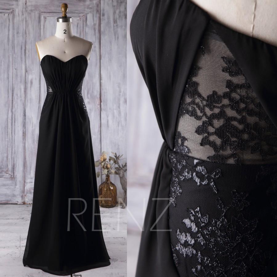 زفاف - 2016 Black Chiffon Bridesmaid Dress, Strapless Lace Wedding Dress, Backless A Line Prom Dress, Long Evening Gown Floor Length (L158)