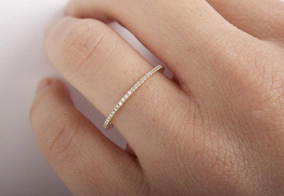 Wedding - 1.0mm FULL Eternity Band 14K White Gold Micro Pave F VS1 0.28ctw Diamond Ring/ Wedding Ring/ Wedding Band/Anniversary Band