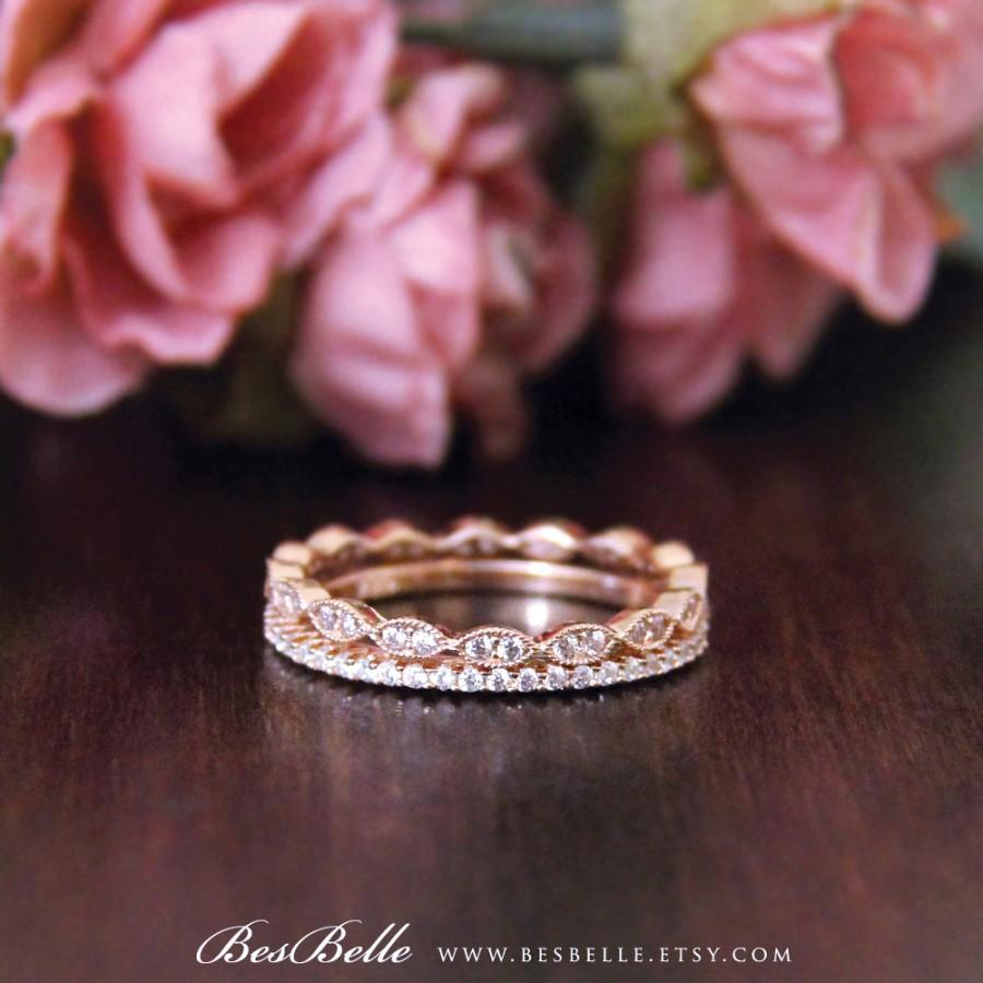 Свадьба - Rose Gold Art Deco Eternity Ring Sets-0.92 ct.tw Pave Set Diamond Simulant-Doule All Around Stones Eternity Ring-Sterling Silver [60103RGE2]