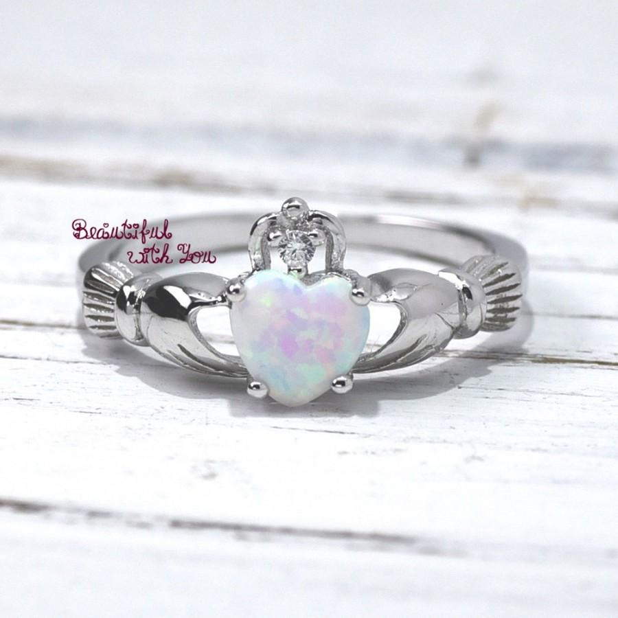 Opal Claddagh Ring Traditional Irish Ring Celtic Design White