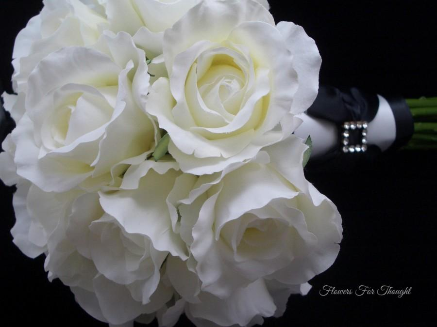 White Roses Bridal Bouquet Silk Flowers Black And Wedding Rhinestones Tuxedo Style FFT Design Made To Order