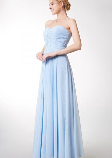 Mariage - Sleeveless Ruched Blue Chiffon Floor Length Sweetheart Zipper