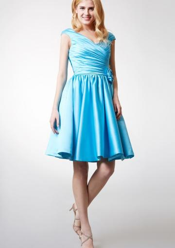 Mariage - Sleeveless Zipper V-neck Knee Length Flower V-back Satin Ruched Blue