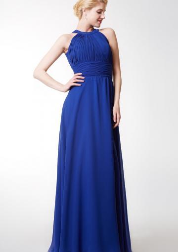 Hochzeit - Sleeveless Ruched Blue Halter Chiffon Floor Length Zipper