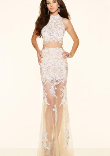 Wedding - Ruched Sheath White High-neck Two-piece Appliques Tulle Floor Length Sleeveless
