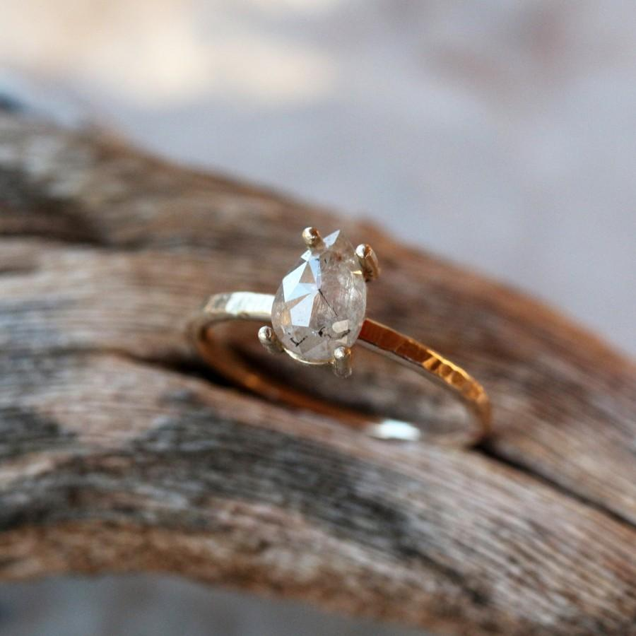 Rose Cut Pear Diamond Ring, Unique Engagement Ring, Natural Color Grey  Diamond, 14k Yellow Gold Engagement Band, Ecofriendly Conflict Free