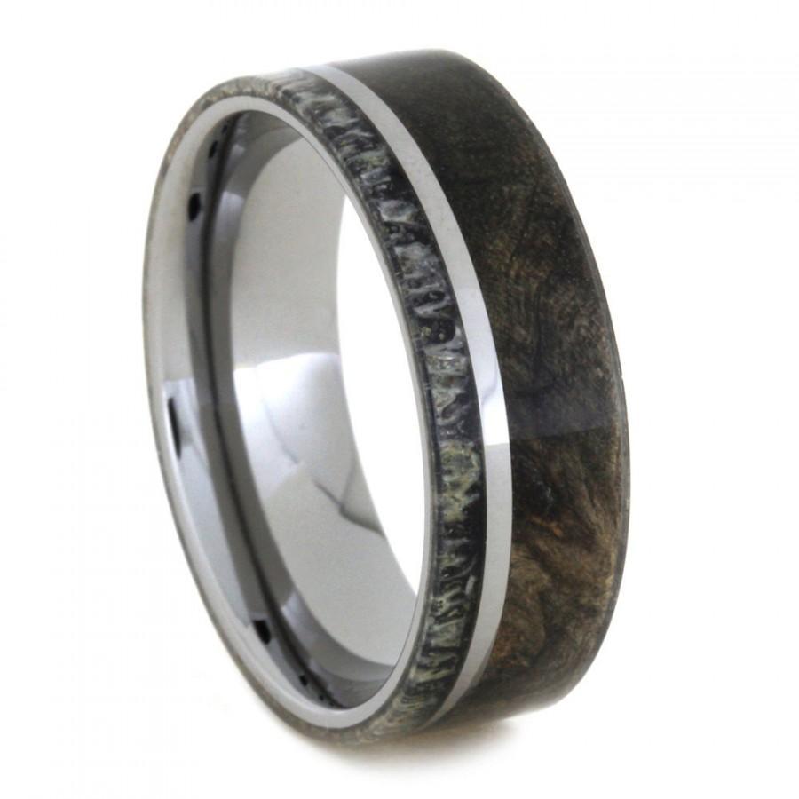 Mariage - Mens Wood Ring With Deer Antler, Tungsten Wedding Band With Buckeye Burl Wood