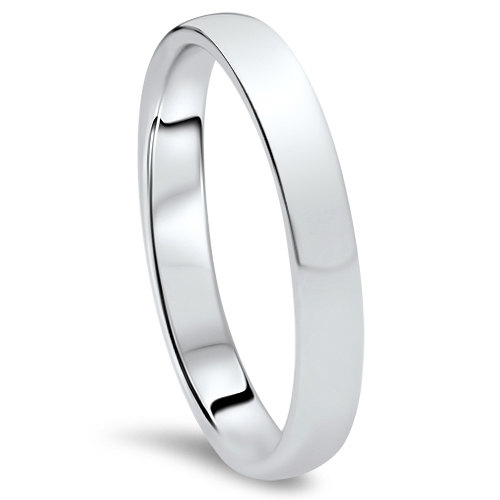 Свадьба - White Gold Wedding Band Womens 10K 3MM Dome High Polished Plain Anniversary