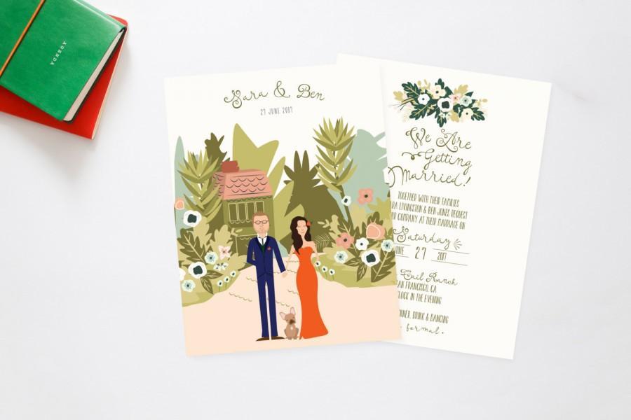 Mariage - Boho Beach Bungalow Secret Garden Couples + Pet Portrait Wedding Invites /// Illustrated Couples Portrait /// Illustrated Family Portrait