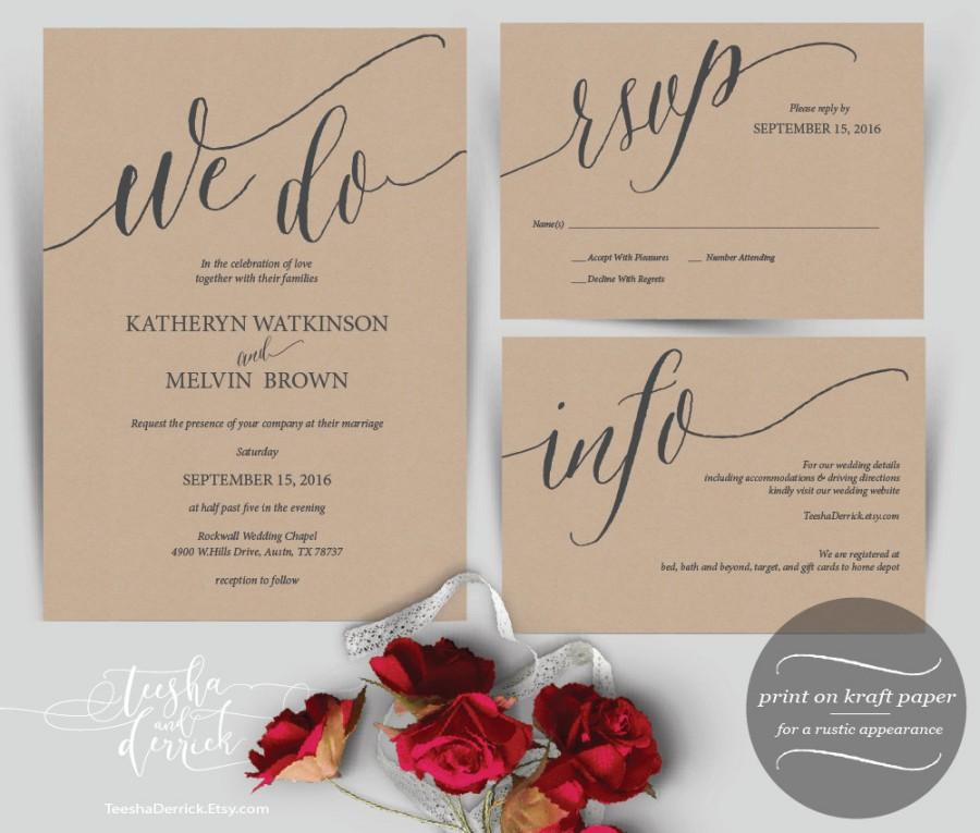 Mariage - We Do Wedding Invitation Instant Download Printable Template, Kraft Wedding Invitation Set in PDF with rustic typography theme (y0137)