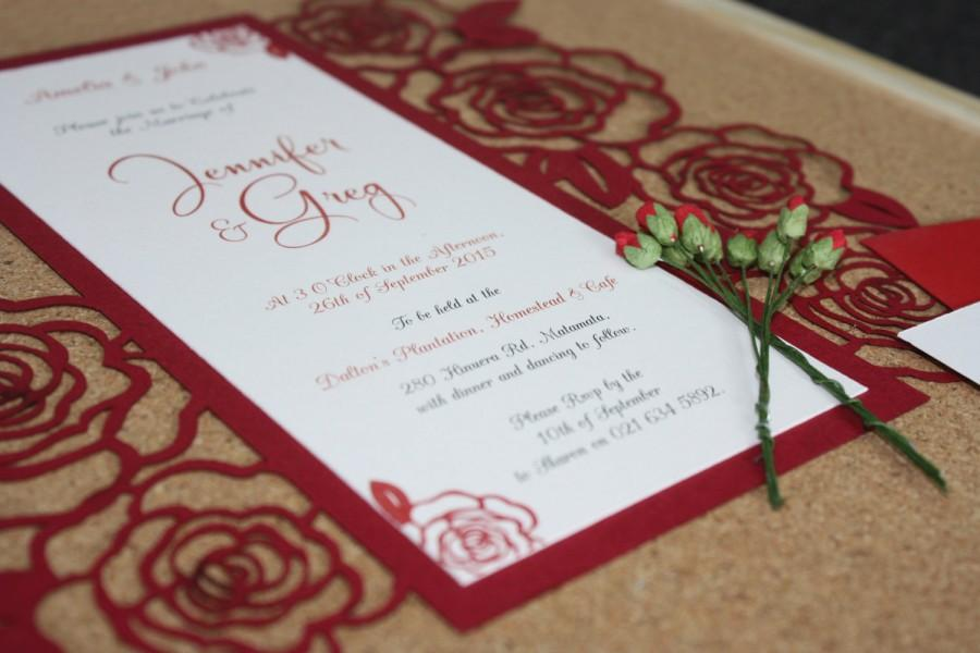 Mariage - Rose Lasercut Wedding and Engagement Invitations