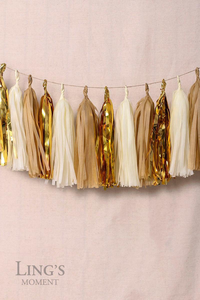 زفاف - Ivory Gold Metallic Gold Tissue Paper Tassel Garland-15pcs Paper Tassels-Baby Shower Banner-Wedding Birthday Party Decoration PTGCOM-009