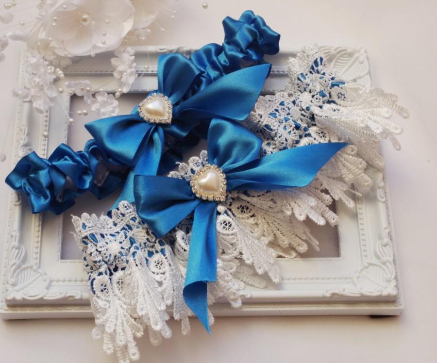Свадьба - Bridal Garter Set Wedding Garter Set Royal Blue  White Garter Rhinestone Pearls Garter blue garters Ribbon Garter set Royal Blue  Garter Set
