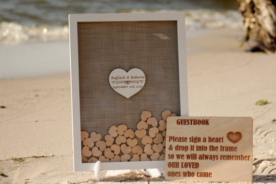 Wedding Guest Book Alternative Guestbook Hearts Drop Box Burlap