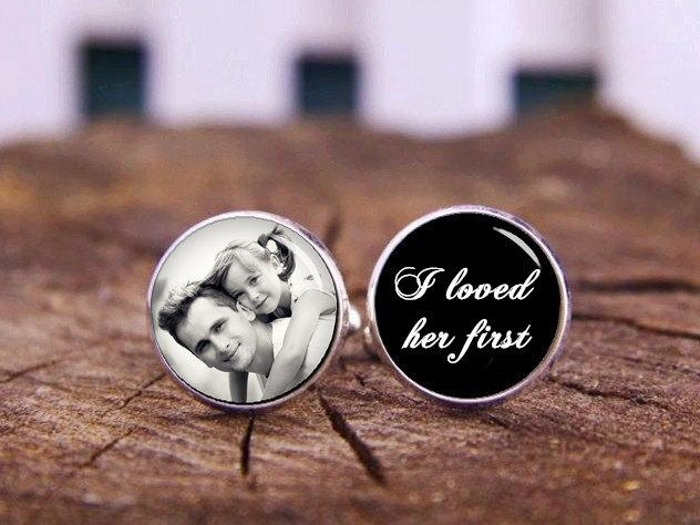 Mariage - Custom Any Wording Or Photo Cufflinks, Father Of The Bride, I Loved Her First, Wedding Cufflinks, Gifts For Dad, Father's Day Cuff Links