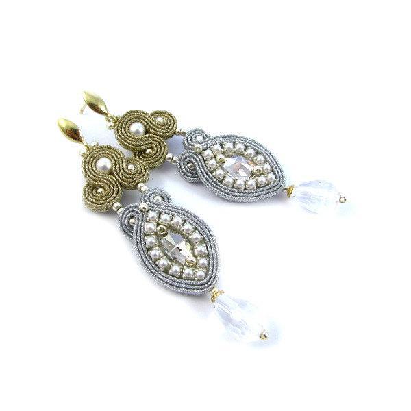 Mariage - WEDDING jewelry BRIDAL soutache EARRINGS clip on clip back orecchini di matrimonio Hochzeit Ohrringe pendientes de la boda