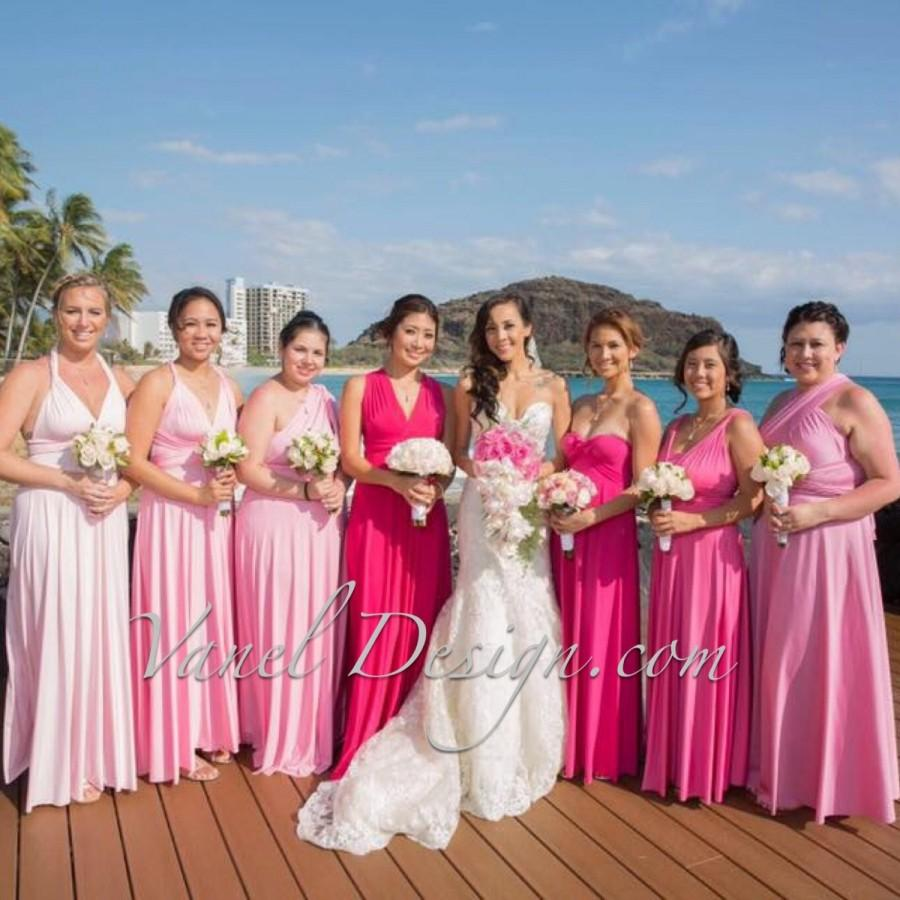 Bridesmaid Dress, Convertible Bridesmaids Dress - Pink Ombre Effect ...