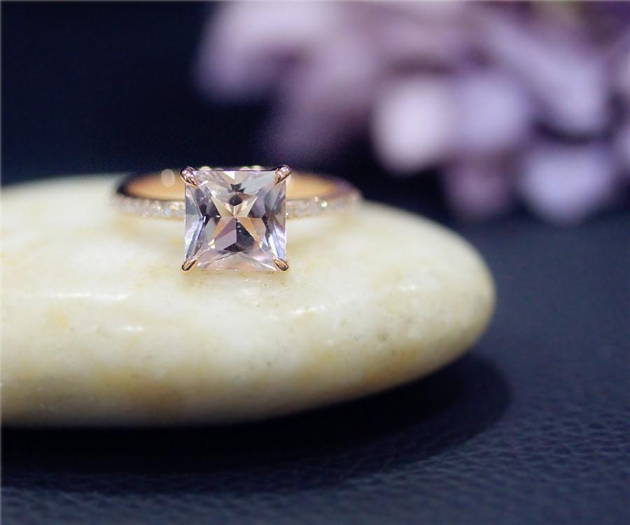 Mariage - Princess 8mm Natural VS Pink Morganite Ring Solid 14K Rose Gold Ring Diamond Ring Wedding Ring Promise Ring Anniversary Ring Engagement Ring