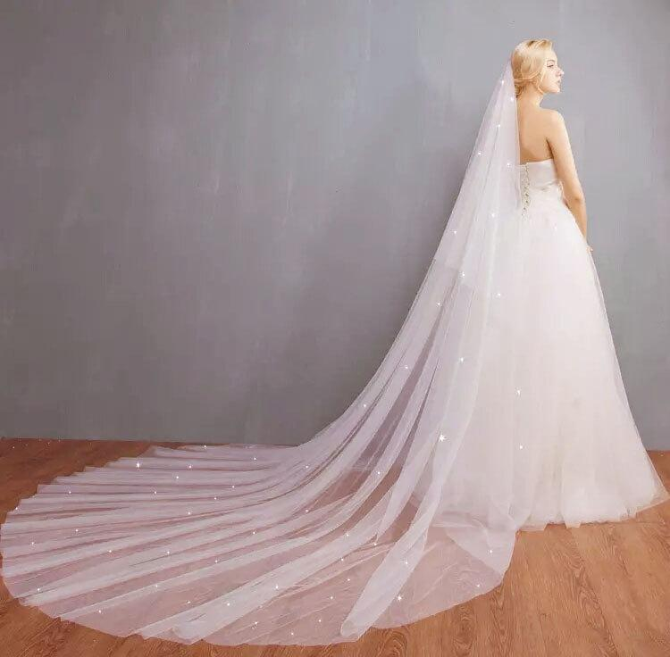 Wedding - Bridal Soft illusion Tulle two Layer Veil, 2 Tiers Scattered Swarovski Crystal Wedding Veil with comb, Bride Ivory Blusher Cathedral veil