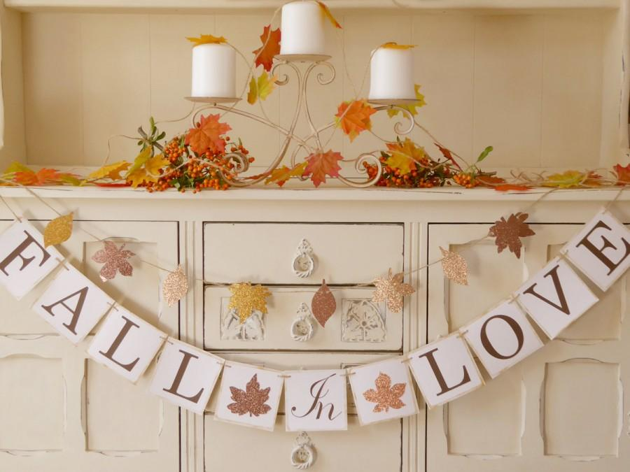 Mariage - FALL IN LOVE banner bunting for fall wedding, autumn wedding, bridal shower, engagement party