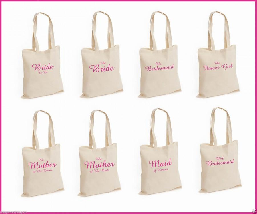 Mariage - Printed Pink Wedding Party Bridal Tote Bags, Bridesmaid, Favour Hen Party Gift Bags