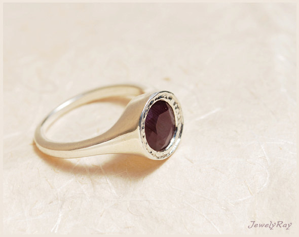 Mariage - July Birthstone Engagement Ring - Sterling Silver and natural Ring, Solitaire engagement ring, Ruby engagement ring, Elegant engagement ring