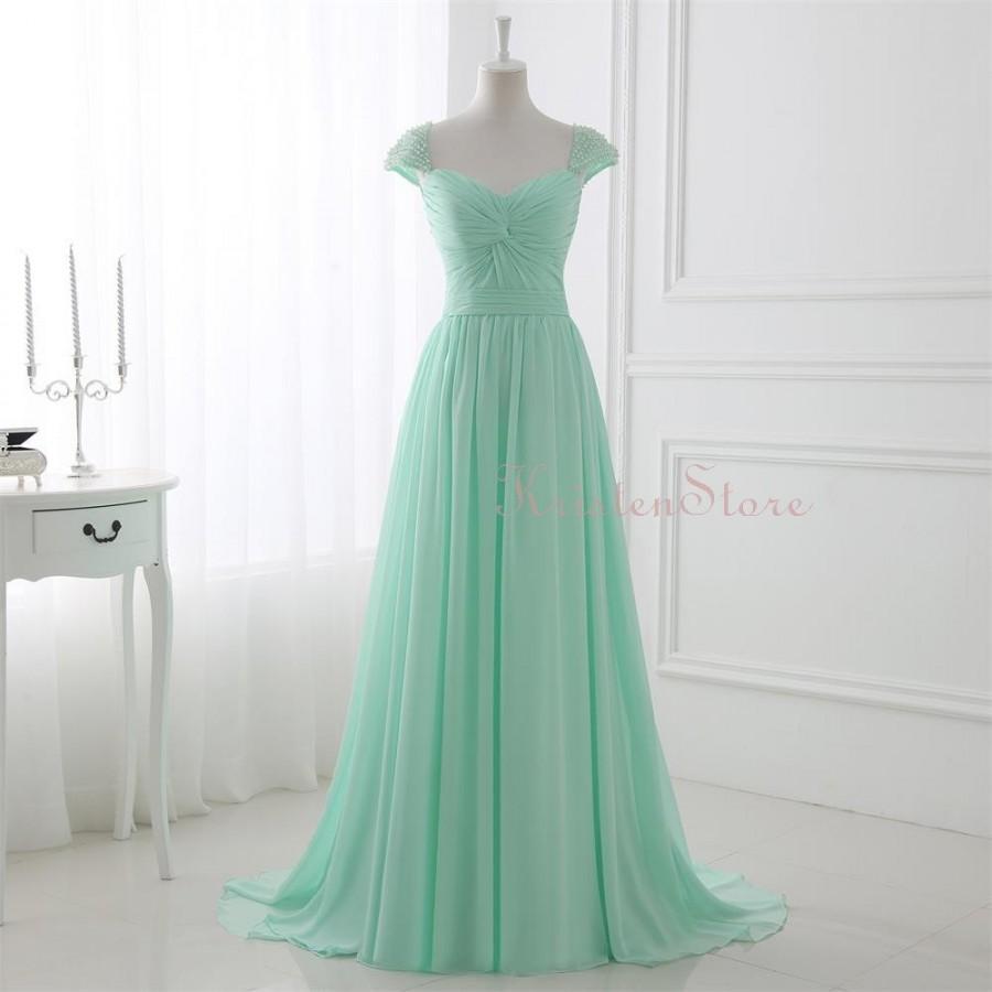 زفاف - 2016 Mint Long Bridesmaid Dress, Pearls Cap Sleeves Evening Dress, Sweetheart Pleated Maxi Dress, Chiffon Prom Dress (BM02)