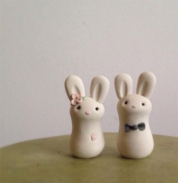 Свадьба - READY to SHIP Cuddle Bunnies Wedding Cake Topper Handmade