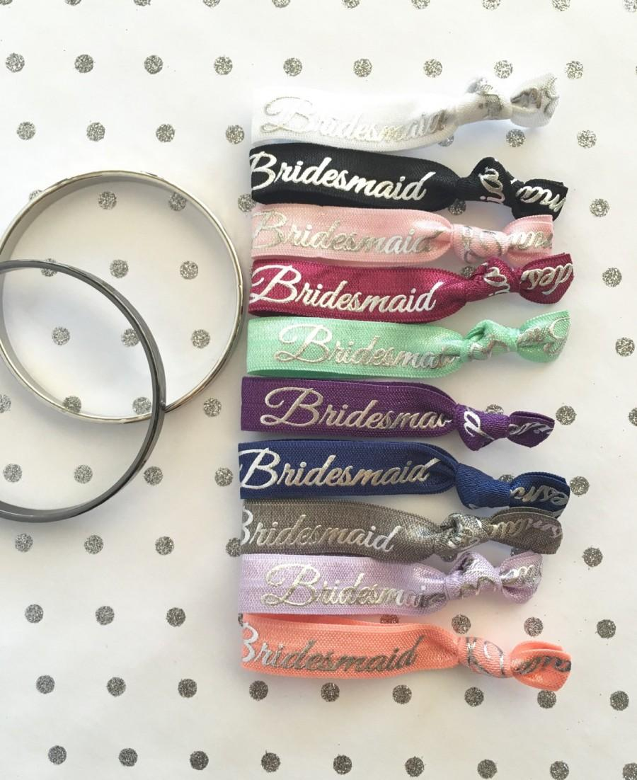Hochzeit - Silver foil Bridesmaid elastic hair ties, will you be my Bridesmaid, Bridesmaid box, Bridesmaid favor, Thank you Bridesmaid, Bridesmaid bag