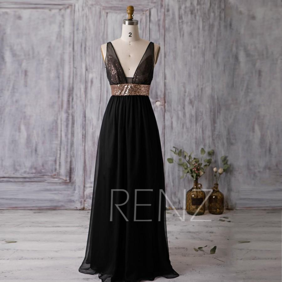 2016 Black Bridesmaid Dress Rose Gold Sequin Wedding Deep V Neck Prom Long Backless Chiffon Formal Floor Length F338
