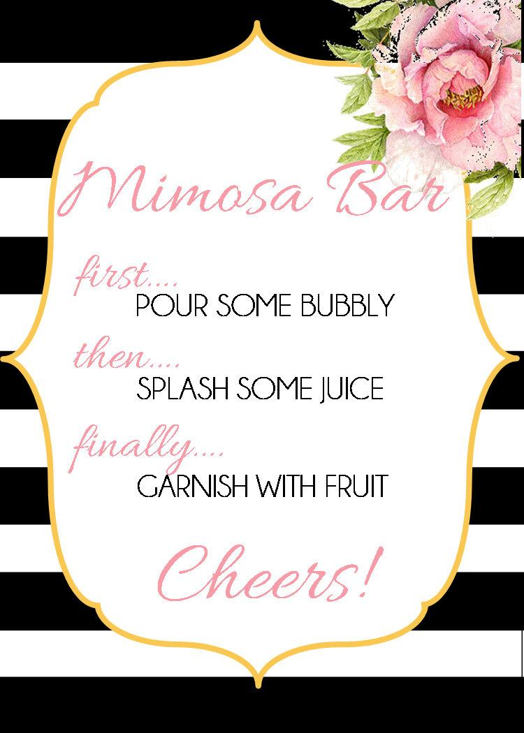 Hochzeit - Mimosa Bar Sign-Black-White-Gold-Pink-INSTANT DOWNLOAD
